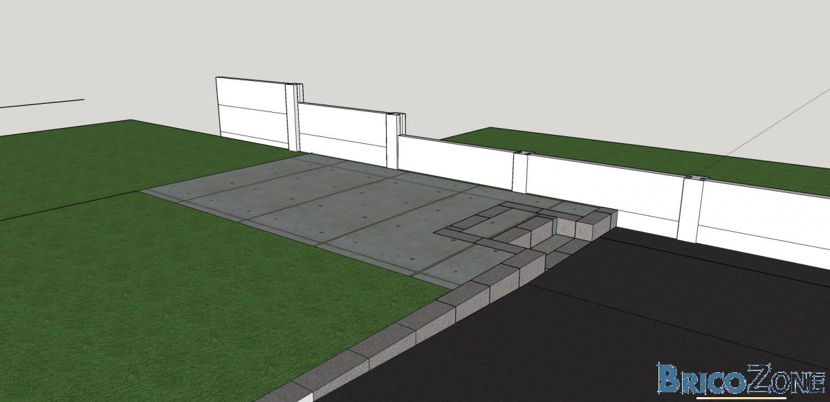 Dalle de b ton en appuis sur un mur de cl ture for Cloture mur beton