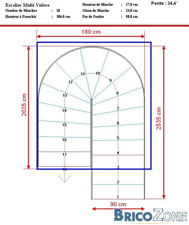 Escalier demi tournant - Dimension escalier helicoidal ...