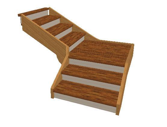 Cr ation double escalier droit avec palier for Calculer un escalier avec palier