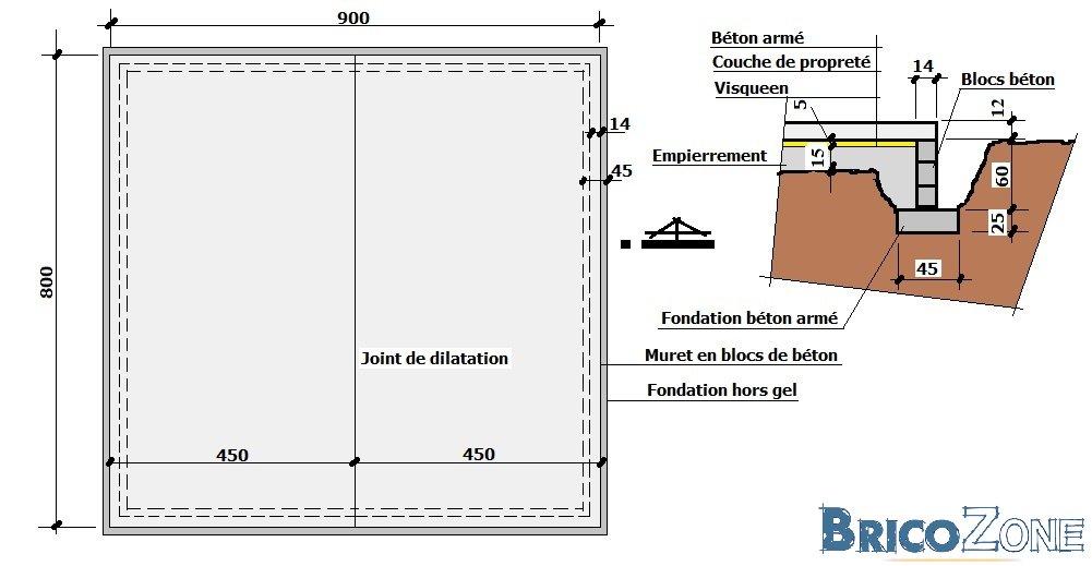 dalle de b ton en appuis sur un mur de cl ture. Black Bedroom Furniture Sets. Home Design Ideas