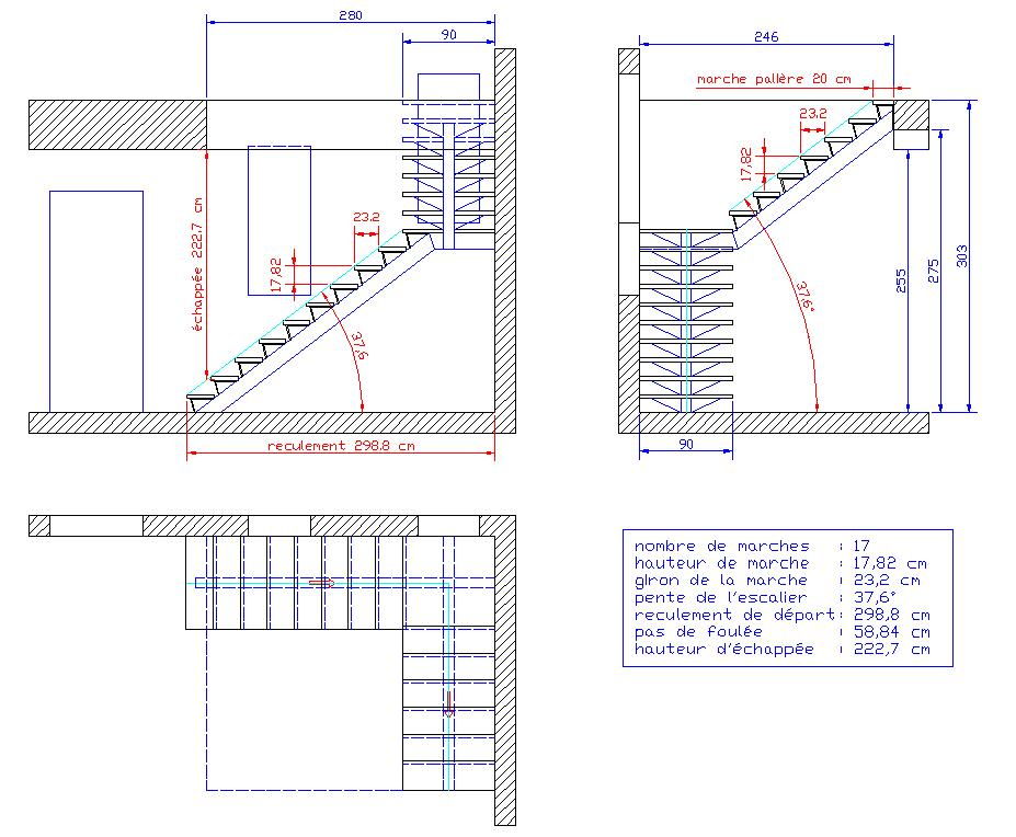 Besoin d 39 aide pour calcul et fabrication escalier 1 4 tournant limont central - Calcul escalier 1 4 tournant ...