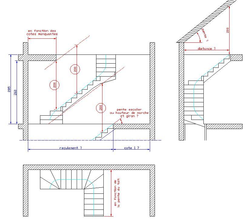 escalier droit ou 1 4 tournant. Black Bedroom Furniture Sets. Home Design Ideas