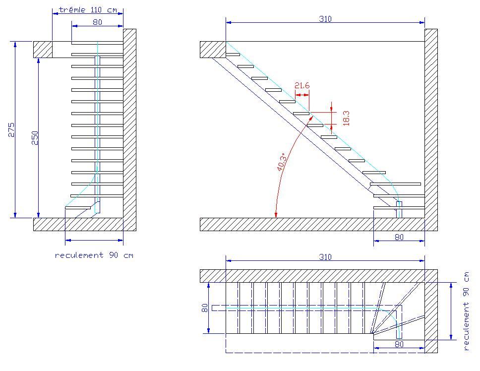 Elevation D Un Plan : Conception escalier acier limon central masion neuve