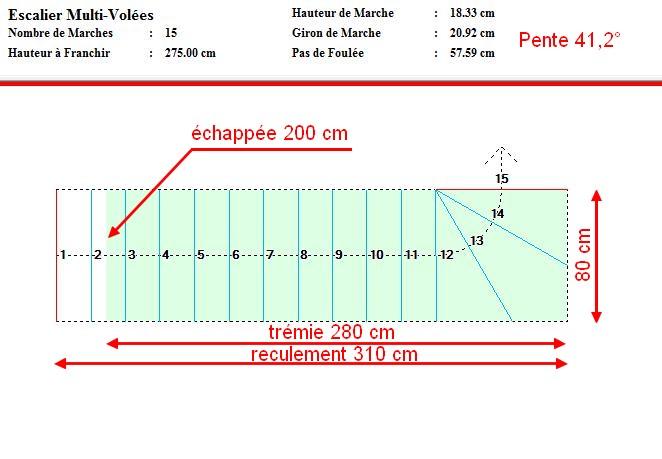Projet escalier b ton quart tournant haut for Encombrement escalier quart tournant