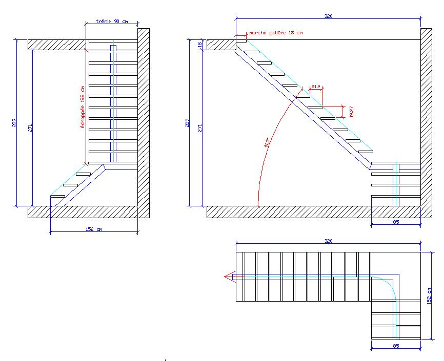 Souvent escalier quart tournant avec palier ac75 montrealeast - Calcul escalier demi tournant ...