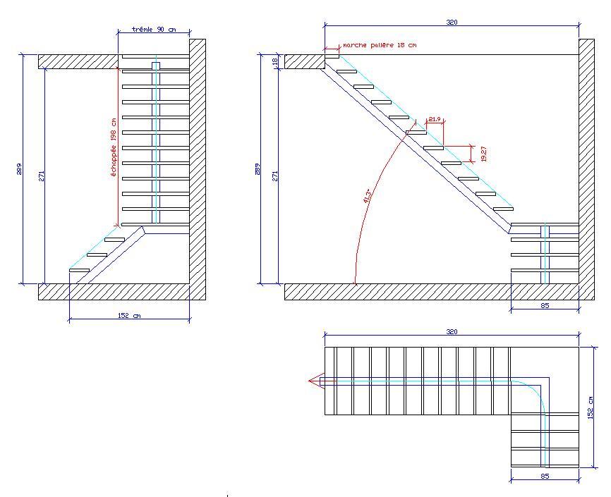 Célèbre Calcul escalier 1/4 tournant avec palier de repos WA11