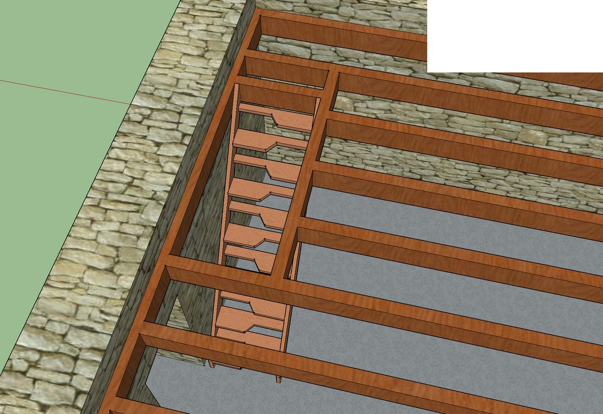 escalier bois acc s tage de d pendance. Black Bedroom Furniture Sets. Home Design Ideas