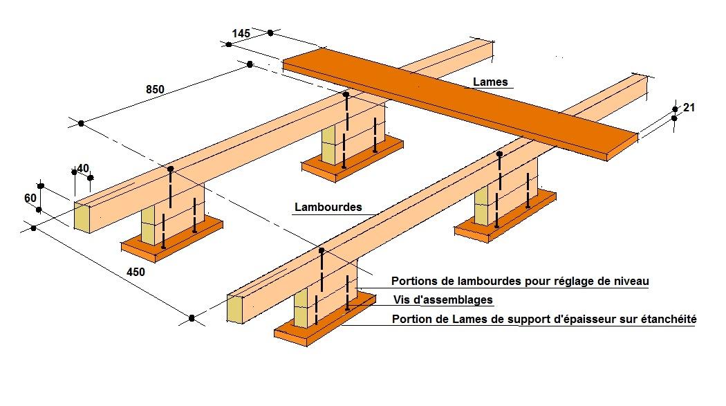 good terrasse sur lambourdes et pies en boisjpg with epaisseur lambourde  terrasse bois