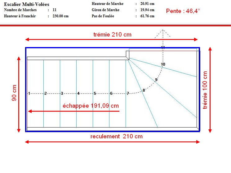 Escalier ou echelle meunier 1 4 tournant haut gauche - Calcul escalier 1 4 tournant ...