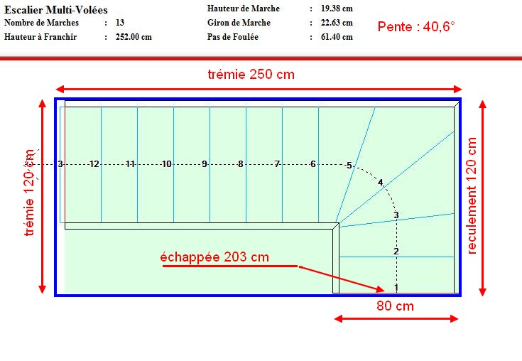 Besoin d 39 aide pour calcul et plan escalier quart tournant en bois - Calcul d un escalier quart tournant ...
