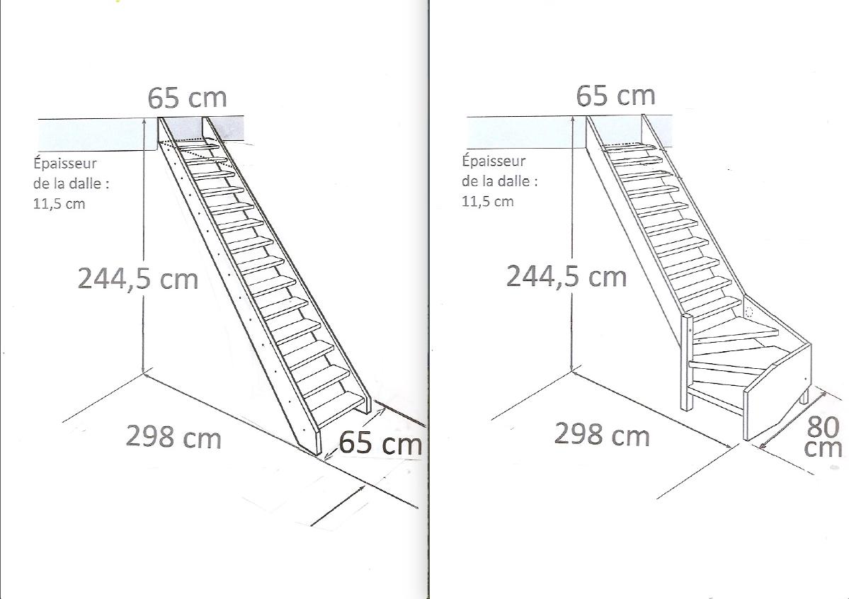 Escalier quart tournant bas ou escalier droit for Taille tremie escalier droit